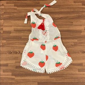 Other - Baby Girls Sleeveless Strawberry Backless Romper